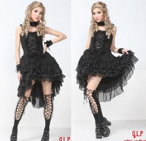 Lagerräumung Gothic Lolita GLP Kleid schwarz 61241 Petticoat Asymmetrisch kurz l