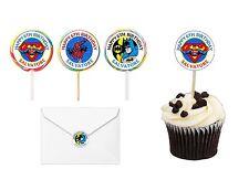 30 Super Hero Birthday Sticker Lollipop Label Party Favor 1.5 in ANY VARIETY
