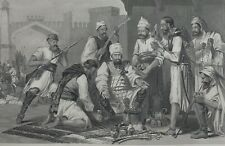 1858 INDIAN MUTINY PRINT SIKH TROOPS DIVIDING SPOIL TAKEN FROM MUTINEERS