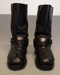 Milwaukee Leather Black Motorcycle Classic Harness rear zipper boots men's 11D