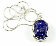 Blue Lapis Buddha Pendant Necklace Wire Wrap Large Sterling Silver chain 18