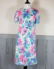 80s Vtg Floral Skirt Set Short Sleeve Shoulder Pads Womens asymmetric USA petite