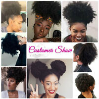 Afro Bun Ponytail As Human Kinky Curly Puff Clip in Drawstring Hair Extension