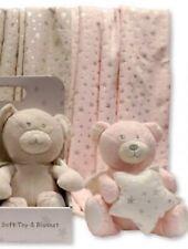 Teddy Bear Gift Warm Pram Blanket Wrap Shower Baby Girl Christmas Stars Pink