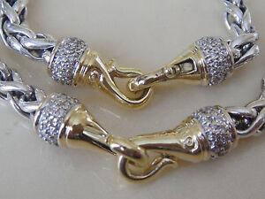 DAVID YURMAN SOLID 18K GOLD DIAMOND CLASP, SS WHEAT CHAIN BRACELET 6mm