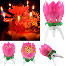 Musical Lotus Flower Lights Happy Birthday Candle Cake Topper Gift Party Decor