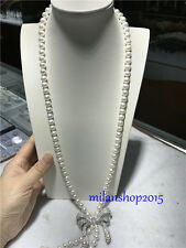wholesale new design 9-10 mm  long natural south seas white pearl necklace