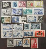 Canada 1957,1958,1959 & 1960 Complete Year Sets, MNH OG, 26 Issues, #'s 365-390