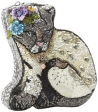 Mary Frances Handbag Cool Cat Beaded Jeweled Kitty Cat Grey Purse Shoulder Bag