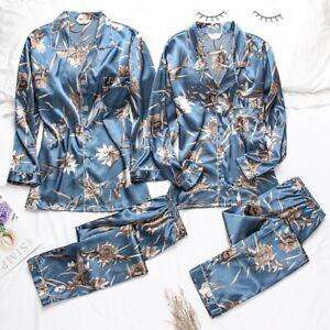 Women Mens Silk Satin Pajama Set Couples Long Sleeve Sleepwear Homewear Robes Pj