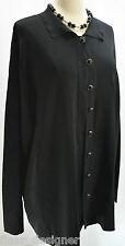 Dialogue Slinky Knit Long CARDIGAN Black Sweater Coat Button Down Top hot 1X QVC