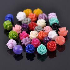 20pcs 8mm Mixed Rose Flower Resin Imitation Coral Loose Beads DIY Craft Charms