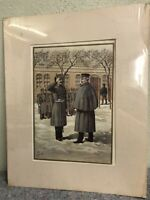Antique 1899 Military Lithograph Print-Military in Formation-Werner Company