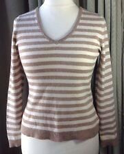 Cashmere Jumper Stripes Brown/Cream V Neck - UK12 EU40