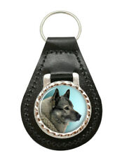 Norwegian Elkhound Leather Key Fob