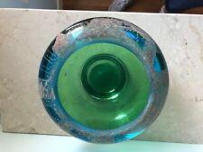 FRENCH ART DECO GLASS green glass vase signe A.RIECKE circa 1930
