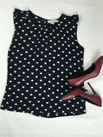 Ann Taylor LOFT Heart Print Navy Blue blouse  Size Medium