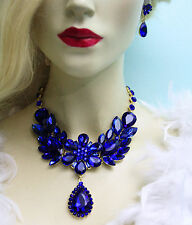 Large Collar Rhinestone Necklace Earrings Blue Crystal Prom Pageant Drag Queen