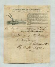 Vintage Illustrated Billhead 1837 Agricultural Warehouse Boston plow