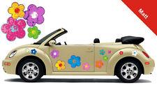 Hippie Blumen Auto Aufkleber Blumenaufkleber Flower Power Set 040 - Matt-