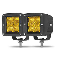 2PC 3inch LED Work Light Amber Fog Flood Pods Driving Lamp Offroad SUV Truck ATV