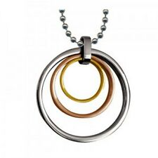 Three Tone Ion Plated 316L Stainless Steel Multi Circle Pendant With 42cm Chain