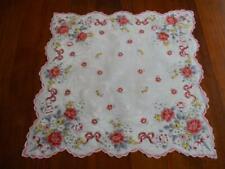 Vintage Bold Pink Rose Hanky Handkerchief Hankies
