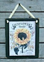 Sunflower Seeds Hanging Wall Sign Plaque Primitive Rustic Farmhouse