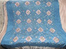 """Antique Chinese Silk Embroidered FLOWERS Shawl circa 1940 Beautiful COLORS 42"""""""