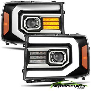 Fit 2007-2013 GMC sierra 1500/07-14 2500/3500HD Black LED DRL Signal Headlights