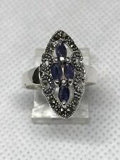 925 sterling silver Marcasite, Emerald, Ruby, Sapphire Ring Size7