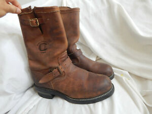 CHIPPEWA BROWN LEATHER BUCKLE MID CALF BOOTS, SIZE 8D