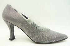 2ea5a642ffb9 Stuart Weitzman Silver Sparkled Silk Classic Dress Heels Shoes Women s 7.5  AA