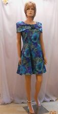"Cute ""By Choice"" Vtg 90s Does the 50s Blue/Green Shawl Collar Rockabilly Dress 7"