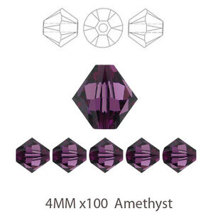 5 x Full Strand 4mm Amethyst Purple Bicone Crystal Glass Beads 500pcs