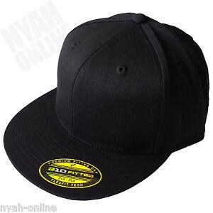 NEW 'BLACK' FITTED CAP PREMIUM HIP HOP SNAPBACK BASEBALL ERA PLAIN FLAT PEAK HAT