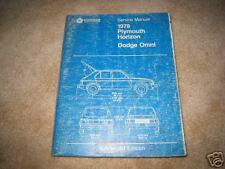 1978 Dodge Omni Plymouth Horizon service shop dealer repair manual
