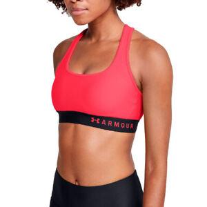 Under Armour Womens Sports Bra Crossback Beta Pink Ladies Mid Gym Running Top S