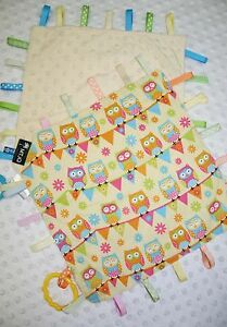 Baby Taggie Blanket Owls on pale yellow -backing cream dimple minky