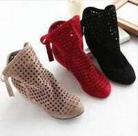 Women Casual Hollow Out Ankle Boots Solid Color Round Toe Lace Up Flat Shoes New