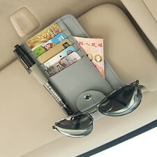 Grey Leather Car Front Sun Visor Function Pen Shelf Cards Glasses Catcher Case