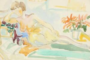 Yolanda Fusco Watercolor Painting of Reclining Nude 1940's Listed Art Students