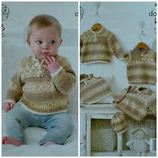 KNITTING PATTERN Baby Easy Knit Button Neck Jumpers and Hat DK KC 4488