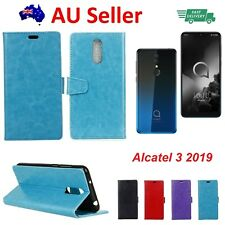 Alcatel 3 2019 Leather Wallet Cover Soft Back Case with Stand