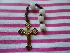 Vintage French bud crucifix/cross silvered brass Souvenir de La Mission 4 beads