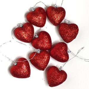 Red Glitter Heart Ornaments Set of 9 Valentines Day Decor Party Decorations NEW