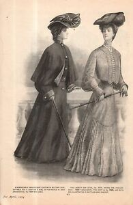 1904 Original Delineator Print - Rain coat with Military Cape, Box Eton, Cheviot
