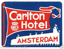 Authentic Vintage Luggage Label - Carlton Hotel - Amsterdam, Holland