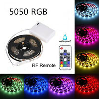 5050 RGB SMD Battery Powered LED Light Strip with RF Remote Waterproof Flexible