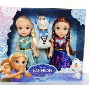 3pcs Frozen Princess Disney. 16cm Anna Elsa Doll Toy